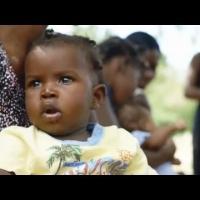 在海地农村地区,利用太阳能冰箱冷藏疫苗