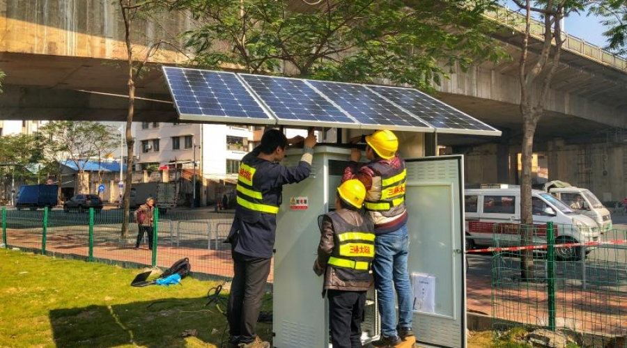 Solar energy in urban construction, water supply system monitoring stations using solar power