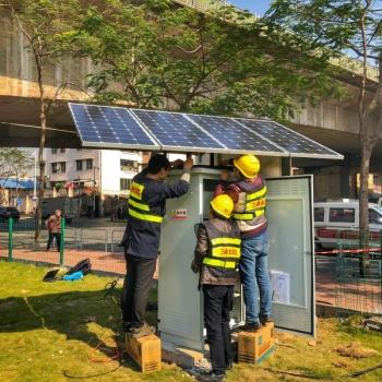太阳能在城市建设中的应用,利用太阳能的供水系统监测站。